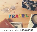 accessories for travel  on... | Shutterstock . vector #658640839