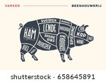 meat cuts. poster butcher... | Shutterstock .eps vector #658645891