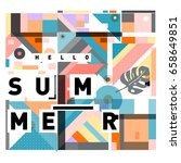 trendy vector holiday summer... | Shutterstock .eps vector #658649851
