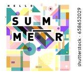 trendy vector holiday summer... | Shutterstock .eps vector #658652029