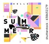 trendy vector holiday summer... | Shutterstock .eps vector #658652179