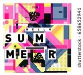 trendy vector holiday summer... | Shutterstock .eps vector #658652941