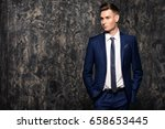 fashion shot of a handsome... | Shutterstock . vector #658653445