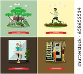vector set of disabled people... | Shutterstock .eps vector #658653514