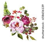 pink green watercolor flowers... | Shutterstock . vector #658656139
