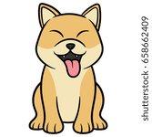 cartoon shiba inu dog cartoon...   Shutterstock .eps vector #658662409