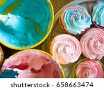 Cupcakes Colorful Cream Muffin...