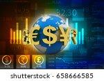 3d rendering global currencies | Shutterstock . vector #658666585