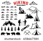 Set Of Hiking  Outdoor ...
