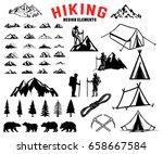 set of hiking  outdoor ... | Shutterstock .eps vector #658667584