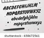 cursive black font. capital and ... | Shutterstock .eps vector #658672561
