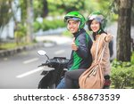 happy commercial motorcycle... | Shutterstock . vector #658673539