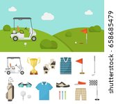 golf equipment set and lawn... | Shutterstock .eps vector #658685479