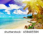 photo of a tropical beach on...   Shutterstock . vector #658685584