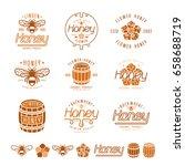set of honey labels  badges and ...   Shutterstock .eps vector #658688719