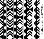 black and white ikat seamless... | Shutterstock . vector #658694065