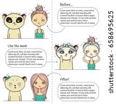 Cute Facial treatment three steps instruction, girl and panda