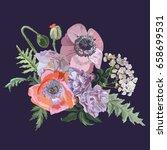 bouquet of peonies  poppies ... | Shutterstock .eps vector #658699531