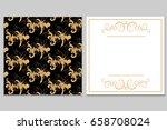 elegant golden black invitation ... | Shutterstock .eps vector #658708024