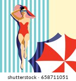 beautiful young woman tanning... | Shutterstock .eps vector #658711051