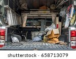 the cargo space of lorry with... | Shutterstock . vector #658713079