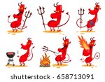 devil cartoon character set.... | Shutterstock .eps vector #658713091