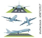 set of planes in different...   Shutterstock . vector #658713517