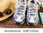 pair of new womens hiking shoes ... | Shutterstock . vector #658714261