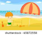 boy builts sand castle on the... | Shutterstock . vector #65872558