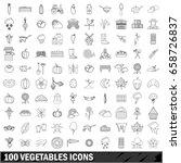 100 vegetables icons set in... | Shutterstock . vector #658726837