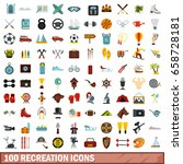 100 recreation icons set in... | Shutterstock . vector #658728181
