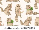 Stock photo seamless pattern funny cartoon kittens drawing markers and ink hand drawn illustration 658729039