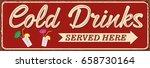 vintage cold drinks metal sign. | Shutterstock .eps vector #658730164