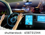 cockpit of autonomous car. self ... | Shutterstock . vector #658731544