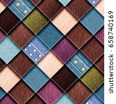 leather and jeans patchwork... | Shutterstock . vector #658740169