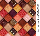 leather patchwork background 3d ... | Shutterstock . vector #658740301