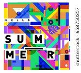trendy vector holiday summer... | Shutterstock .eps vector #658750357