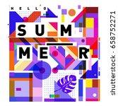 trendy vector holiday summer... | Shutterstock .eps vector #658752271