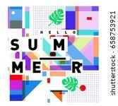 trendy vector holiday summer... | Shutterstock .eps vector #658753921