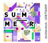 trendy vector holiday summer... | Shutterstock .eps vector #658756009