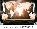 businessman using tablet with... | Shutterstock . vector #658760011