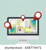 pin location icon and map on... | Shutterstock .eps vector #658774471
