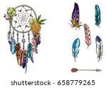 hand drawn ornate dream catcher ...   Shutterstock .eps vector #658779265