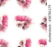 skull and brain pattern   Shutterstock . vector #658781179
