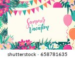 palm leaves  pink  white... | Shutterstock .eps vector #658781635