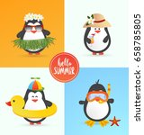 cute summer penguin characters  ... | Shutterstock .eps vector #658785805