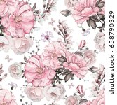 Stock photo seamless pattern with pink flowers and leaves on white background watercolor floral pattern 658790329