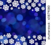 snowflake border on a blue... | Shutterstock . vector #65879080