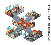isometric business offices with ... | Shutterstock .eps vector #658799575