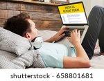 man fill in a medical report... | Shutterstock . vector #658801681
